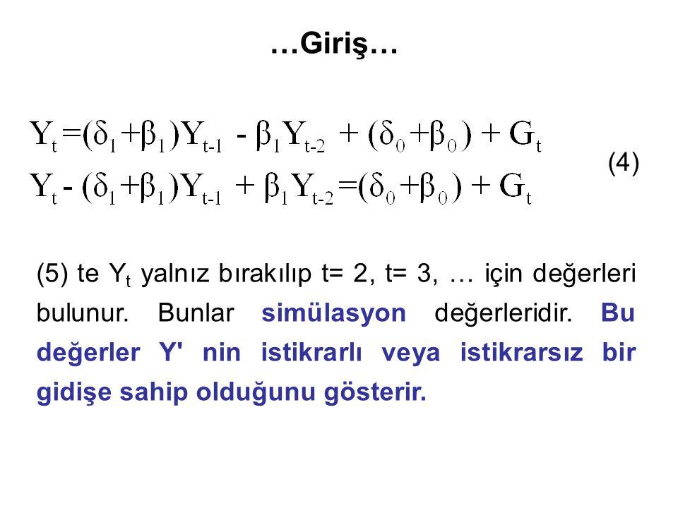 …Giriş… (4) (5) te Y t yalnız bırakılıp t= 2, t= 3, … için değerleri bulunur.