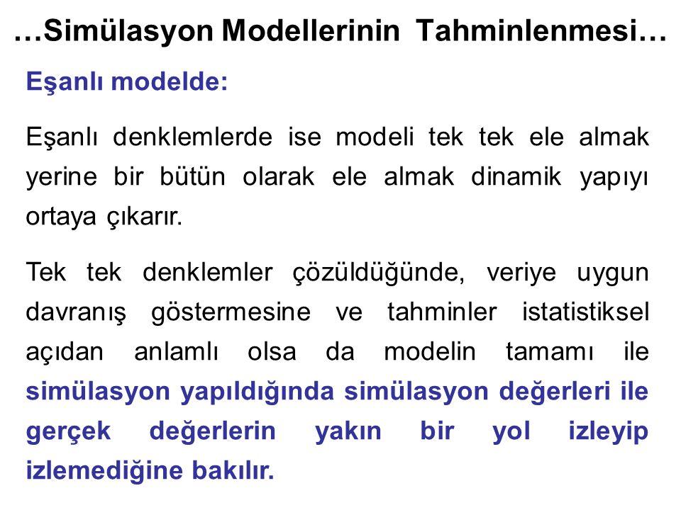 …Simülasyon Modellerinin Tahminlenmesi… Eşanlı modelde: Eşanlı denklemlerde ise modeli tek tek ele almak yerine bir bütün olarak ele almak dinamik yapıyı ortaya çıkarır.