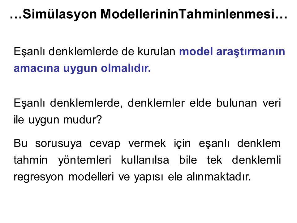…Simülasyon ModellerininTahminlenmesi… Eşanlı denklemlerde de kurulan model araştırmanın amacına uygun olmalıdır.