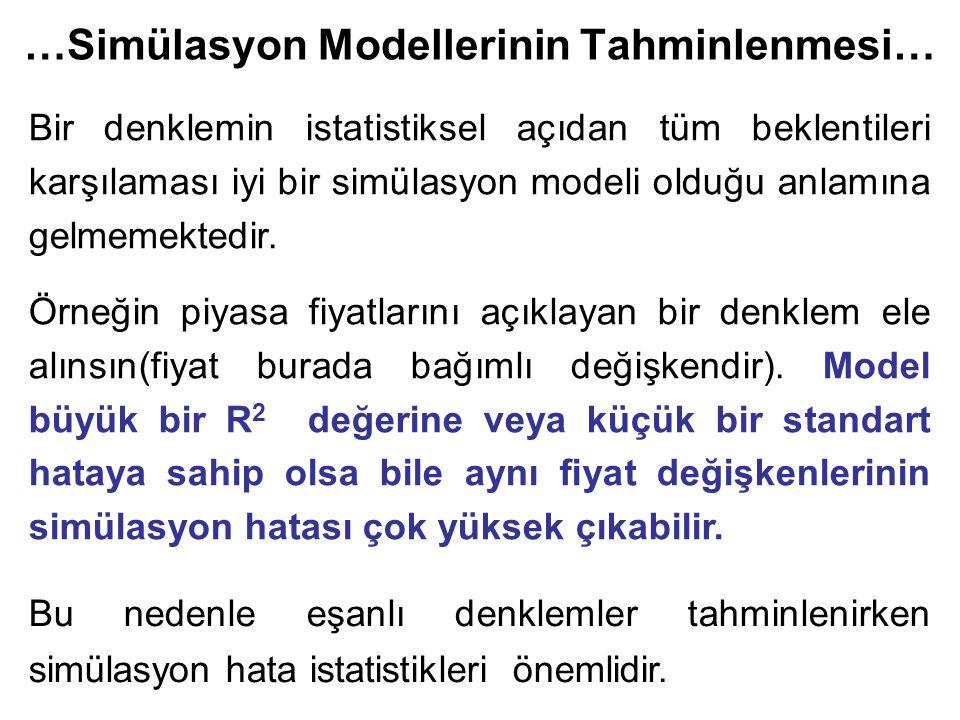 …Simülasyon Modellerinin Tahminlenmesi… Bir denklemin istatistiksel açıdan tüm beklentileri karşılaması iyi bir simülasyon modeli olduğu anlamına gelmemektedir.