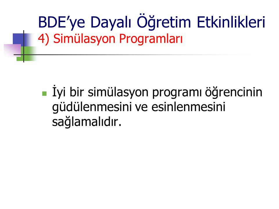 BDE'ye Dayalı Öğretim Etkinlikleri 4) Simülasyon Programları İyi bir simülasyon programı öğrencinin güdülenmesini ve esinlenmesini sağlamalıdır.