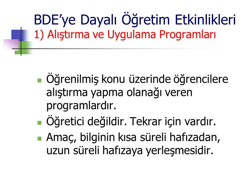 BDE'ye Dayalı Öğretim Etkinlikleri 1) Alıştırma ve Uygulama Programları Öğrenilmiş konu üzerinde öğrencilere alıştırma yapma olanağı veren programlard