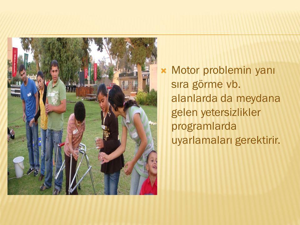  Motor problemin yanı sıra görme vb. alanlarda da meydana gelen yetersizlikler programlarda uyarlamaları gerektirir.