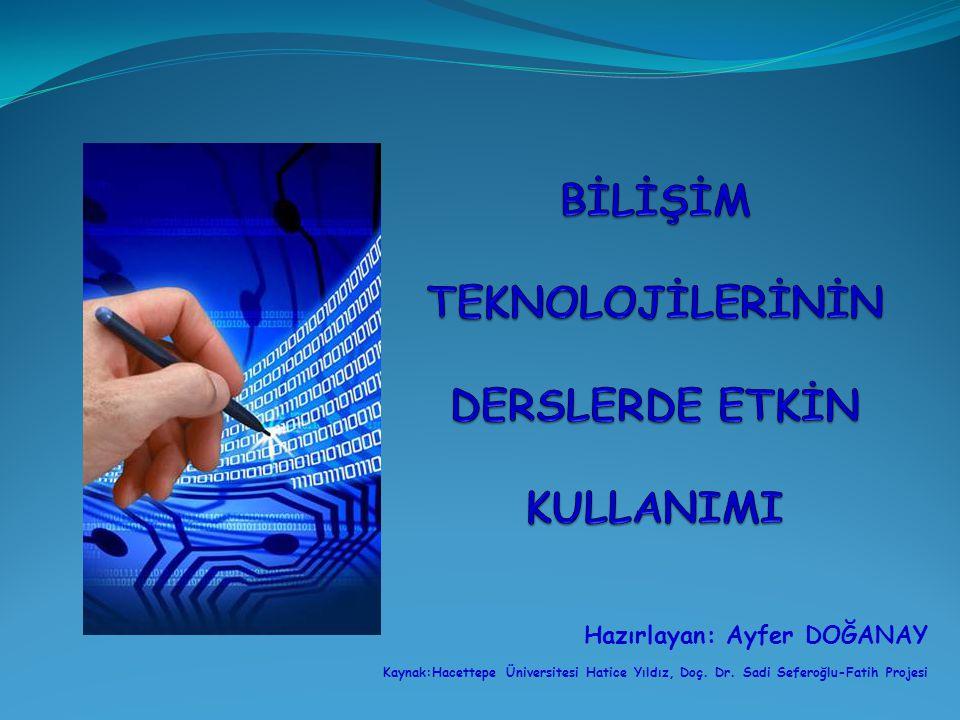 Hazırlayan: Ayfer DOĞANAY Kaynak:Hacettepe Üniversitesi Hatice Yıldız, Doç. Dr. Sadi Seferoğlu-Fatih Projesi
