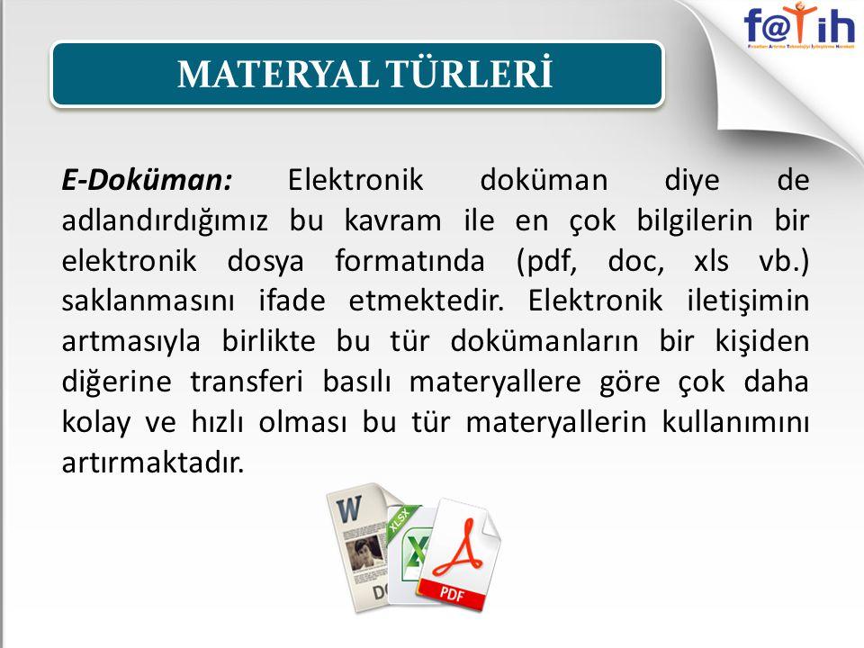 E-Doküman: Elektronik doküman diye de adlandırdığımız bu kavram ile en çok bilgilerin bir elektronik dosya formatında (pdf, doc, xls vb.) saklanmasını