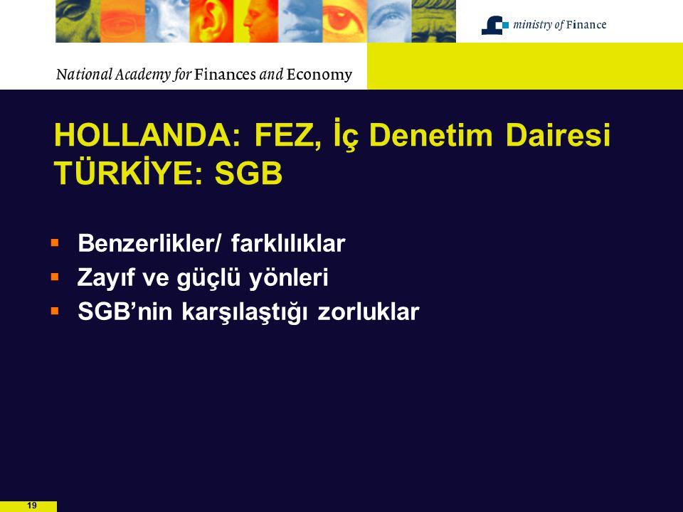 19 HOLLANDA: FEZ, İç Denetim Dairesi TÜRKİYE: SGB  Benzerlikler/ farklılıklar  Zayıf ve güçlü yönleri  SGB'nin karşılaştığı zorluklar
