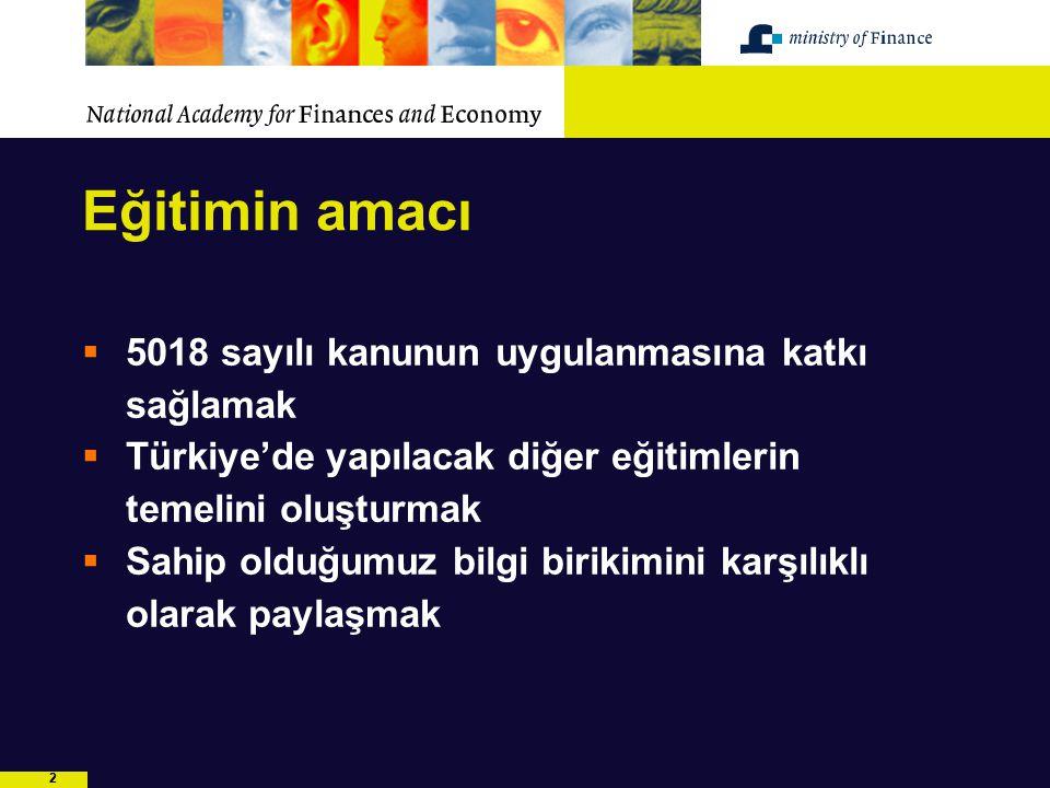 22 Eğitimin amacı  5018 sayılı kanunun uygulanmasına katkı sağlamak  Türkiye'de yapılacak diğer eğitimlerin temelini oluşturmak  Sahip olduğumuz bi