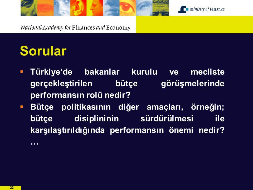 22 Sorular  Türkiye'de bakanlar kurulu ve mecliste gerçekleştirilen bütçe görüşmelerinde performansın rolü nedir?  Bütçe politikasının diğer amaçlar