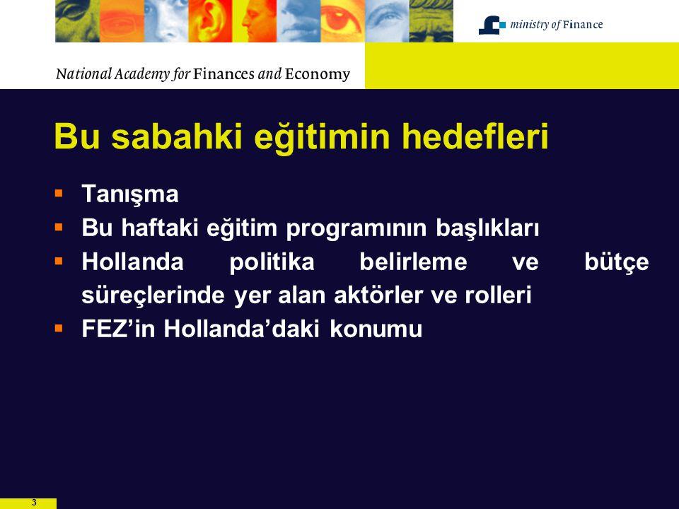 44 Eğitim programının geri kalan kısmı  Politika süreci ve bütçe sürecinde yer alan aktörler  Politika süreci ve bütçe süreci  Yönetim bilgi sistemi  Program ve Performans esaslı bütçeleme  Çok yıllı bütçe çerçevesi  İç kontrol ve risk yönetimi  Hollanda daki idari sürecin simülasyonu  Türkiye'de Engelliler Kanunu'nun bütçelenmesi ve uygulanması ile ilgili simülasyon