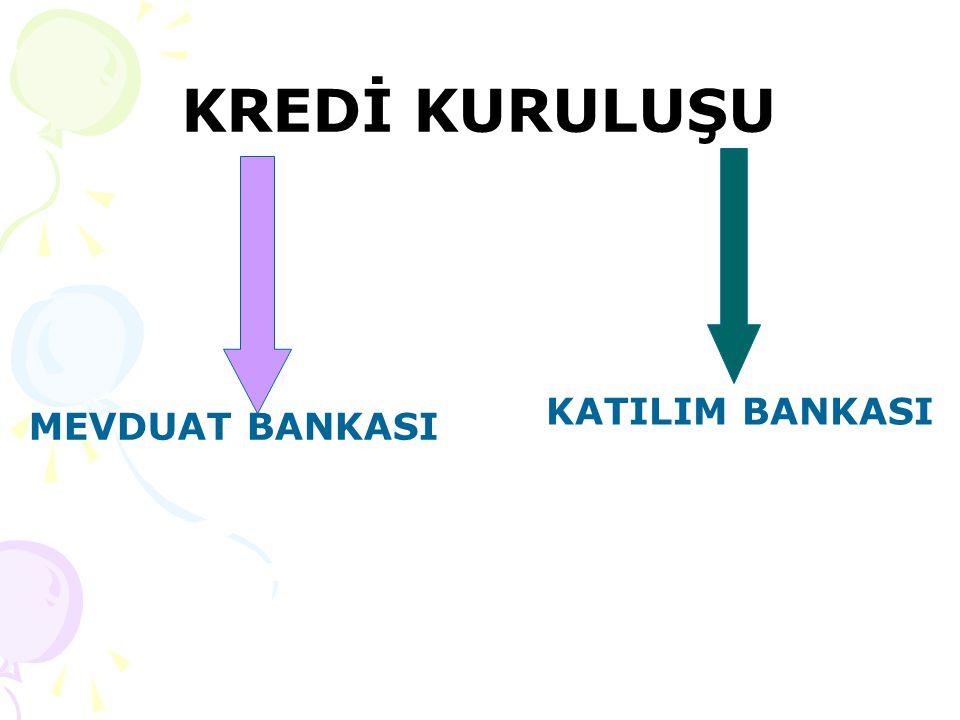 KREDİ KURULUŞU MEVDUAT BANKASI KATILIM BANKASI