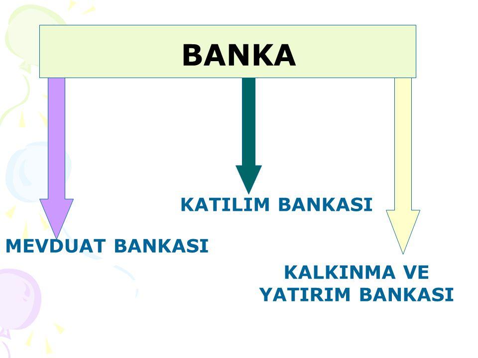 BANKA MEVDUAT BANKASI KATILIM BANKASI KALKINMA VE YATIRIM BANKASI