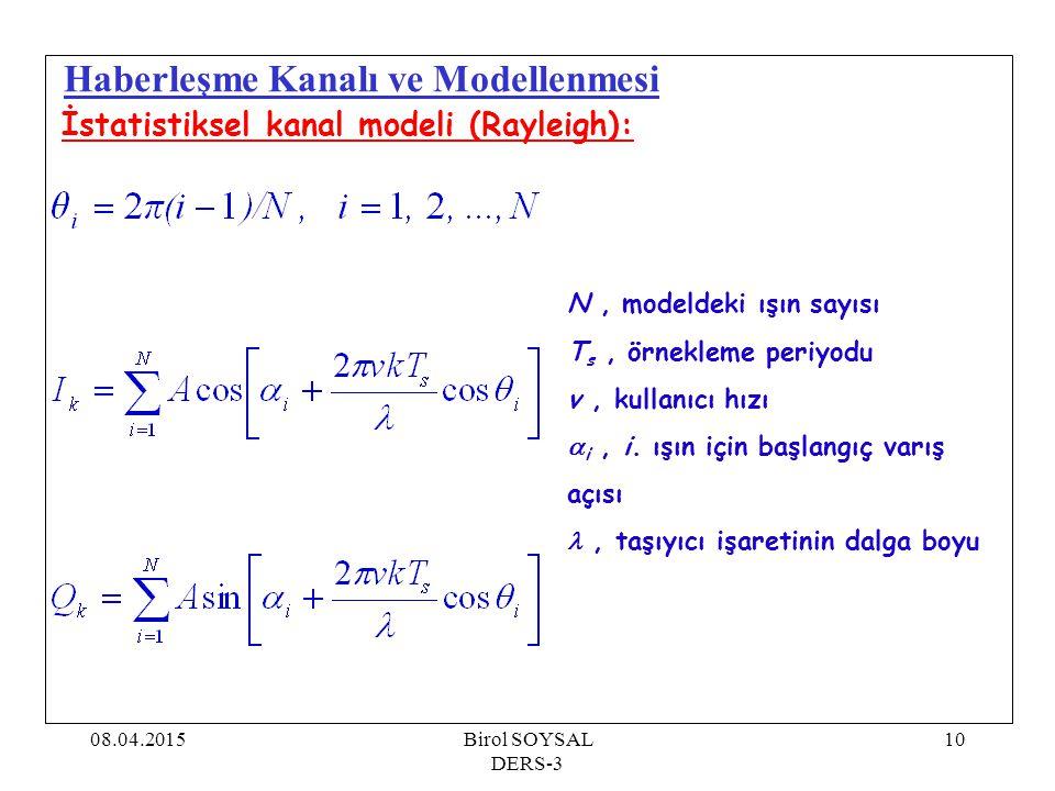 08.04.2015Birol SOYSAL DERS-3 10 Haberleşme Kanalı ve Modellenmesi İstatistiksel kanal modeli (Rayleigh): N, modeldeki ışın sayısı T s, örnekleme peri