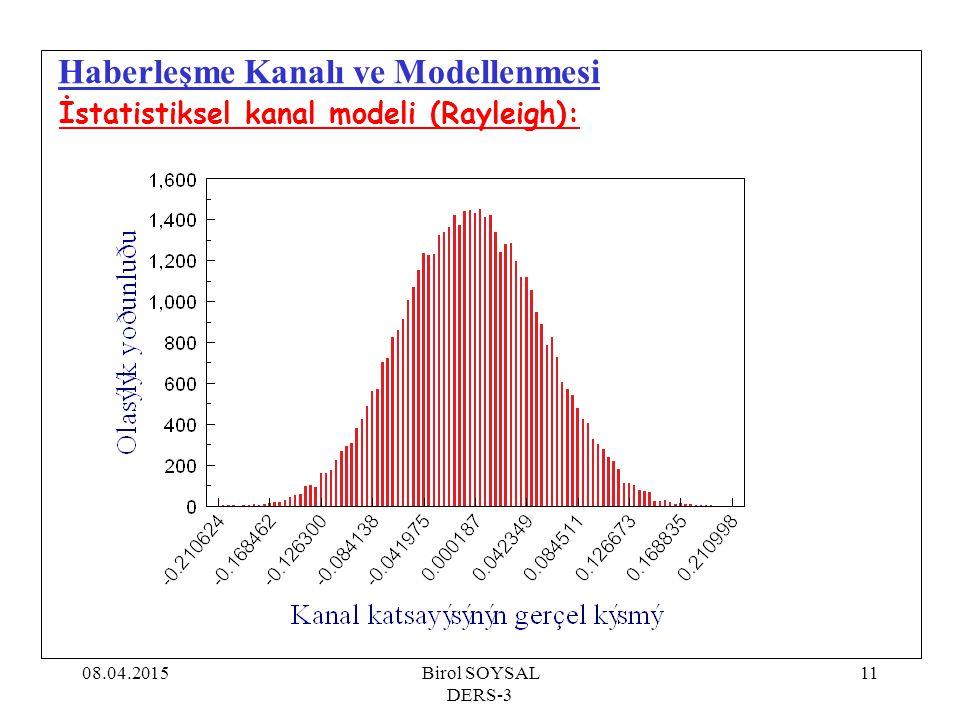 08.04.2015Birol SOYSAL DERS-3 12 Haberleşme Kanalı ve Modellenmesi İstatistiksel kanal modeli (Rayleigh):