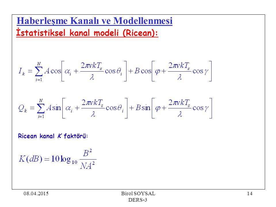 08.04.2015Birol SOYSAL DERS-3 14 Haberleşme Kanalı ve Modellenmesi İstatistiksel kanal modeli (Ricean): Ricean kanal K faktörü: