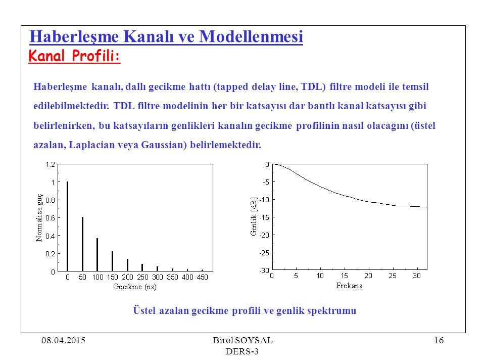 08.04.2015Birol SOYSAL DERS-3 17 Haberleşme Kanalı ve Modellenmesi Kanal Profili: Haberleşme kanalı, dallı gecikme hattı (tapped delay line, TDL) filtre modeli ile temsil edilebilmektedir.