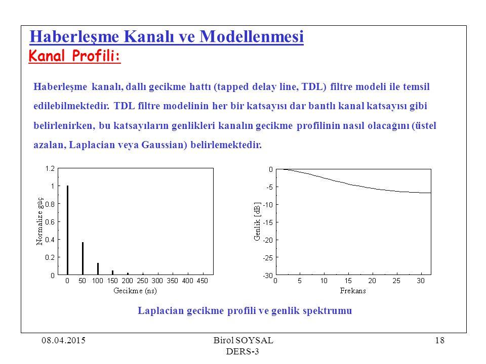 08.04.2015Birol SOYSAL DERS-3 19 Haberleşme Kanalı ve Modellenmesi Kanal Profili: Haberleşme kanalı, dallı gecikme hattı (tapped delay line, TDL) filtre modeli ile temsil edilebilmektedir.