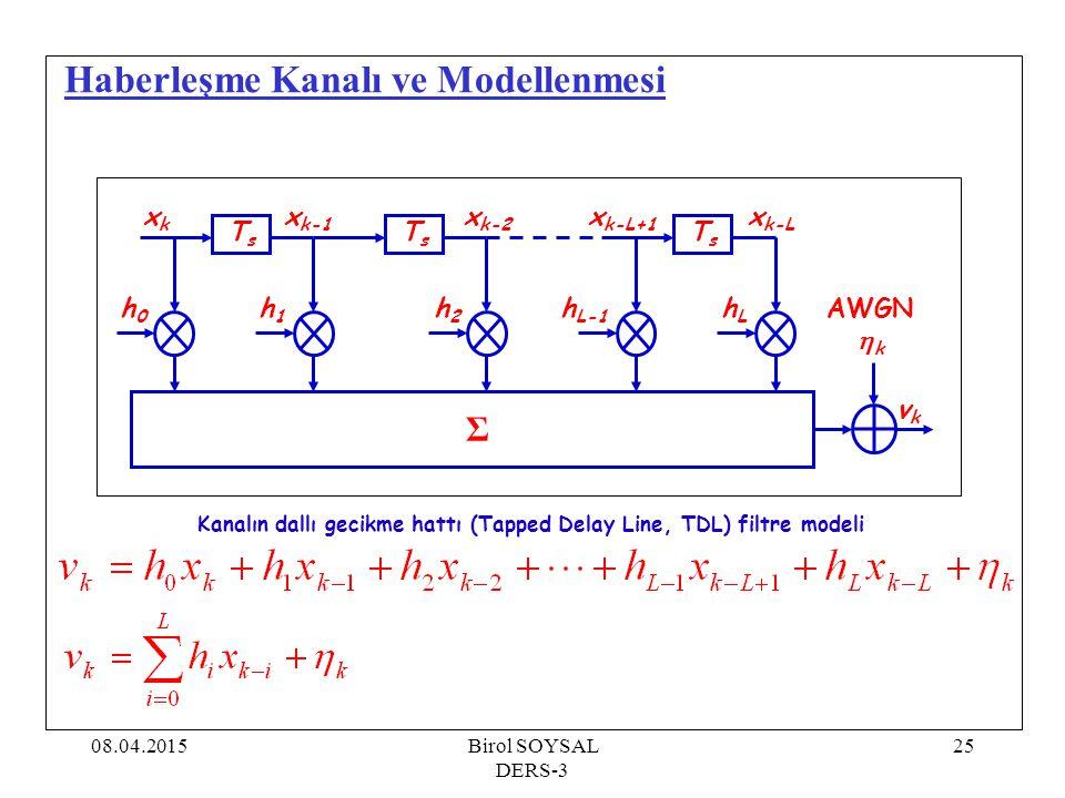 08.04.2015Birol SOYSAL DERS-3 26 Haberleşme Kanalı ve Modellenmesi clear all; amplit=[0.227; 0.460; 0.688; 0.460; 0.227]; %randn( seed ,1); for i=1:5 amplit(i)=amplit(i)/8; end for i=1:8 teta(i)=i*2*pi/8.0; end for i=1:5 for j=1:8 alfa(i,j)=2*pi*randn(); end for i=1:5 f(i)=complex(0.0,0.0); for j=1:8 ek=amplit(i)*complex(cos(alfa(i,j)),sin(alfa(i,j))); f(i)=f(i)+ek; end İstatistiksel kanal modeli (Rayleigh):