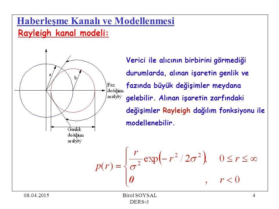 08.04.2015Birol SOYSAL DERS-3 4 Haberleşme Kanalı ve Modellenmesi Rayleigh kanal modeli: Verici ile alıcının birbirini görmediği durumlarda, alınan iş