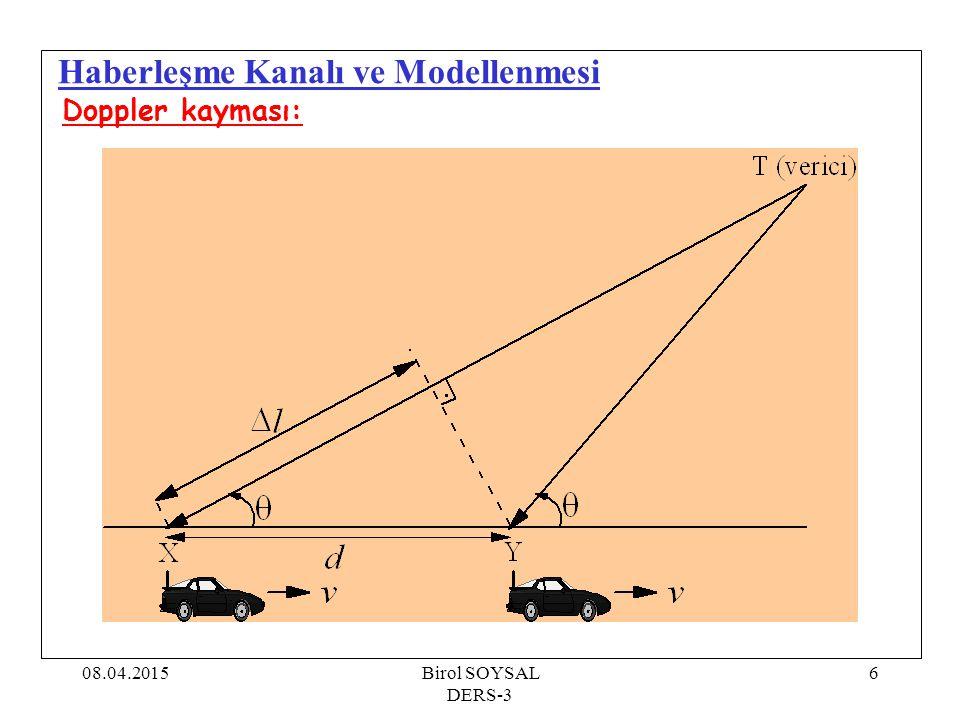 08.04.2015Birol SOYSAL DERS-3 6 Haberleşme Kanalı ve Modellenmesi Doppler kayması:
