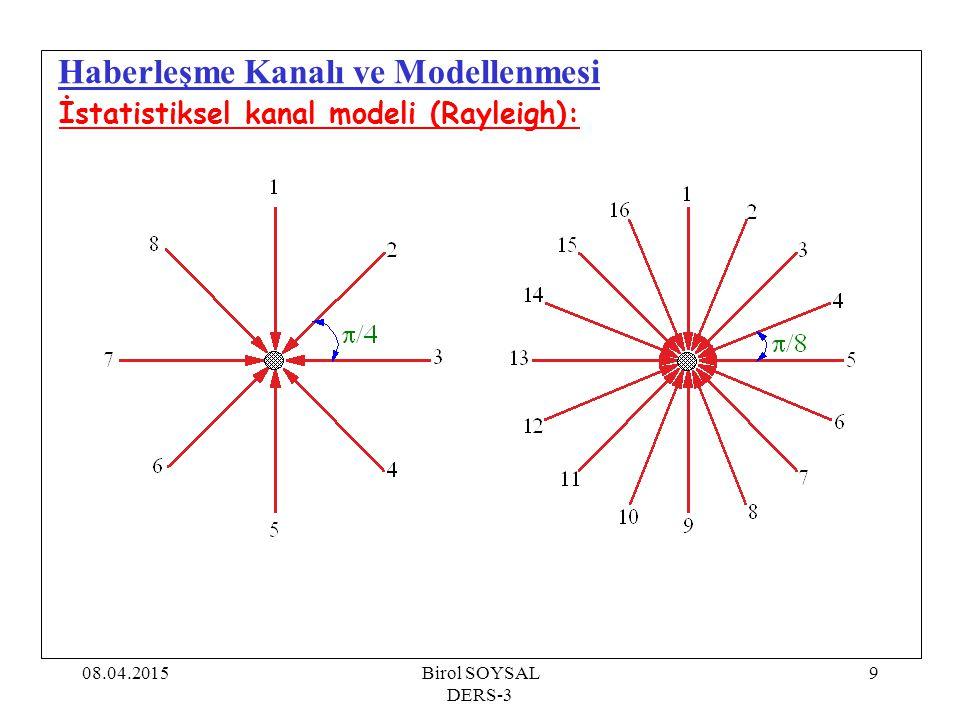 08.04.2015Birol SOYSAL DERS-3 10 Haberleşme Kanalı ve Modellenmesi İstatistiksel kanal modeli (Rayleigh): N, modeldeki ışın sayısı T s, örnekleme periyodu v, kullanıcı hızı  i, i.