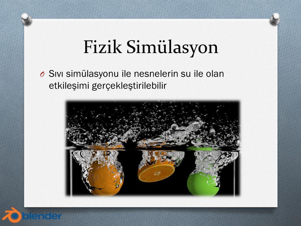 Fizik Simülasyon O Sıvı simülasyonu ile nesnelerin su ile olan etkileşimi gerçekleştirilebilir