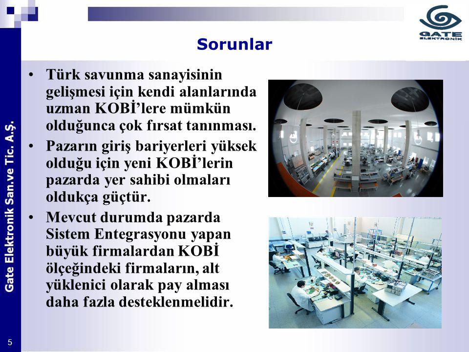 5 Sorunlar Türk savunma sanayisinin gelişmesi için kendi alanlarında uzman KOBİ'lere mümkün olduğunca çok fırsat tanınması. Pazarın giriş bariyerleri
