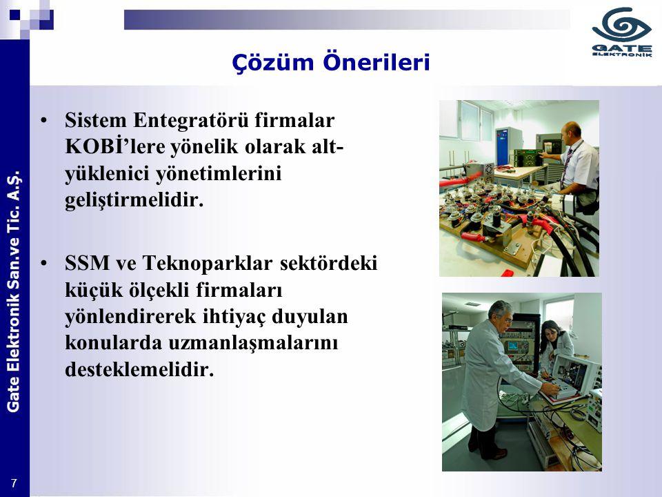 7 Çözüm Önerileri Sistem Entegratörü firmalar KOBİ'lere yönelik olarak alt- yüklenici yönetimlerini geliştirmelidir. SSM ve Teknoparklar sektördeki kü