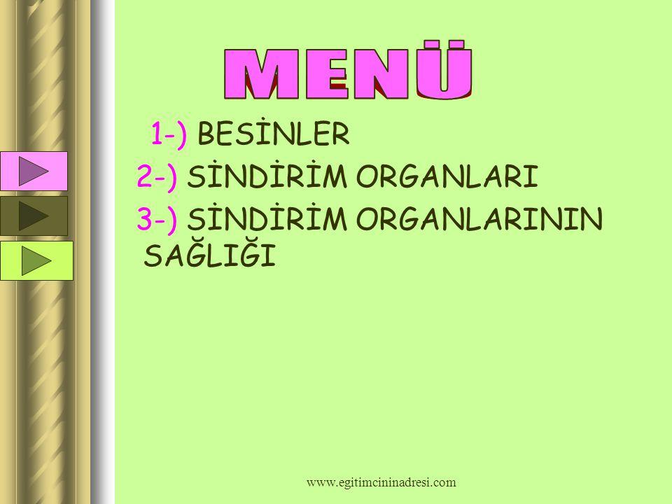 SİNDİRİM SİSTEMİ VE BESLENME www.egitimcininadresi.com www.egitimcininadresi.com