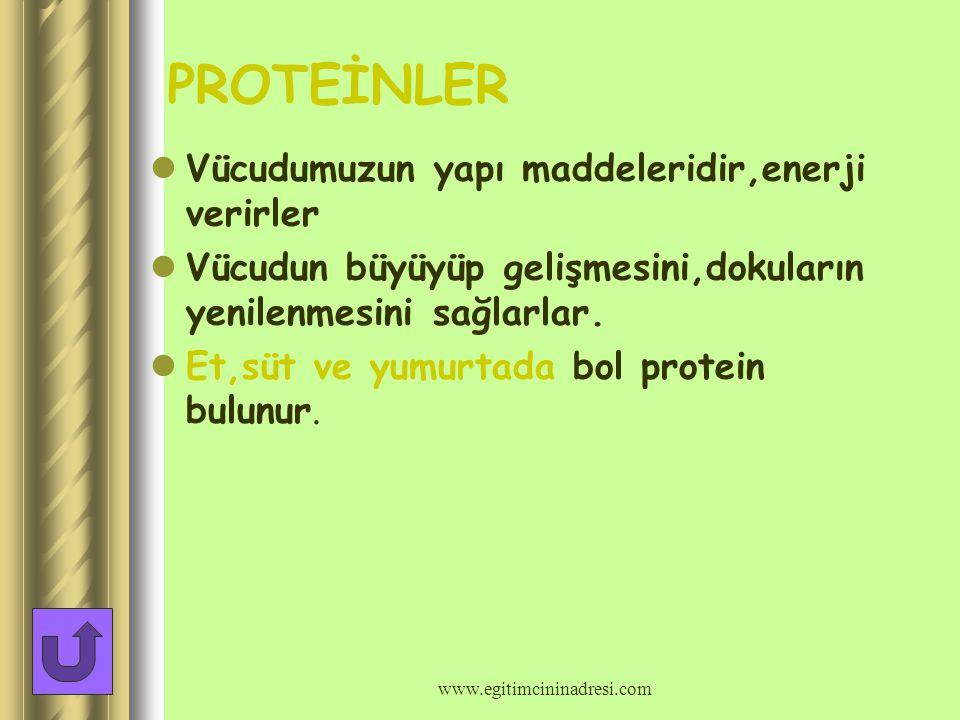Besinleri vücutta gördükleri işe göre 3 grupta toplayabiliriz BESİNLER 1-Yapıcı ve onarıcı besinler 2-Enerji veren besinler 3-Düzenleyici besinler -proteinler -yağlar -karbonhidratlar - karbonhidratlar -yağlar -proteinler -vitaminler www.egitimcininadresi.com