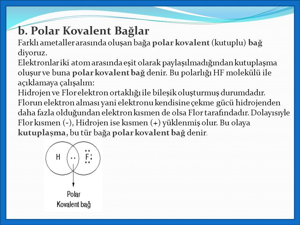 b. Polar Kovalent Bağlar Farklı ametaller arasında oluşan bağa polar kovalent (kutuplu) bağ diyoruz. Elektronlar iki atom arasında eşit olarak paylaşı