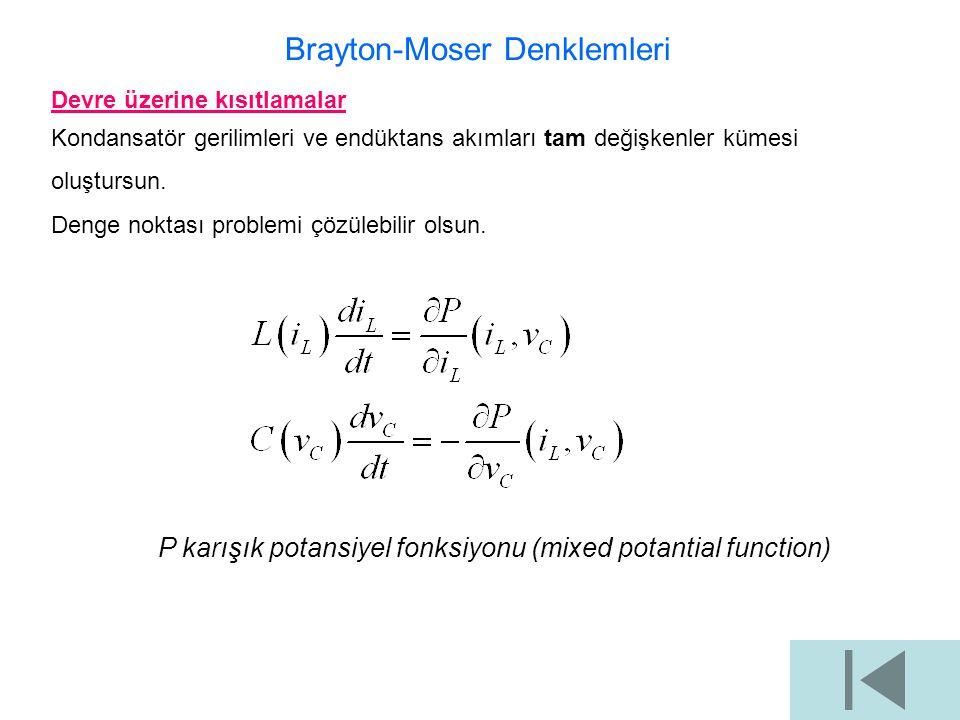 Brayton-Moser Denklemleri Devre üzerine kısıtlamalar Kondansatör gerilimleri ve endüktans akımları tam değişkenler kümesi oluştursun. Denge noktası pr