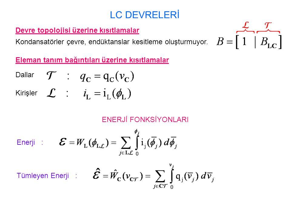 LC DEVRELERİ Devre topolojisi üzerine kısıtlamalar Kondansatörler çevre, endüktanslar kesitleme oluşturmuyor. Eleman tanım bağıntıları üzerine kısıtla
