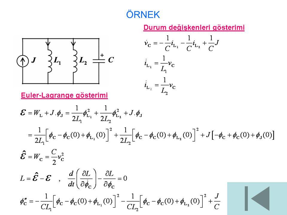 ÖRNEK Durum değişkenleri gösterimi Euler-Lagrange gösterimi