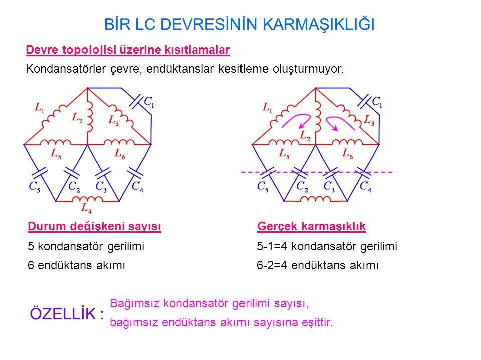 Gerçek karmaşıklık 5-1=4 kondansatör gerilimi 6-2=4 endüktans akımı BİR LC DEVRESİNİN KARMAŞIKLIĞI Devre topolojisi üzerine kısıtlamalar Kondansatörler çevre, endüktanslar kesitleme oluşturmuyor.
