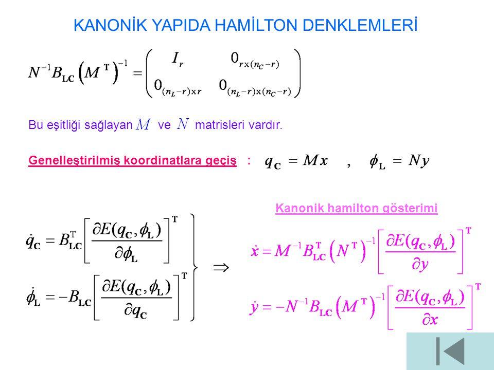 KANONİK YAPIDA HAMİLTON DENKLEMLERİ Bu eşitliği sağlayan ve matrisleri vardır. Genelleştirilmiş koordinatlara geçiş : Kanonik hamilton gösterimi