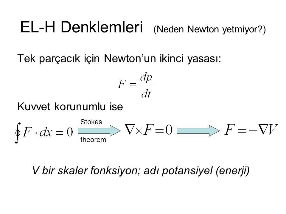 EL-H Denklemleri (Neden Newton yetmiyor?) Tek parçacık için Newton'un ikinci yasası: Kuvvet korunumlu ise V bir skaler fonksiyon; adı potansiyel (enerji) Stokes theorem