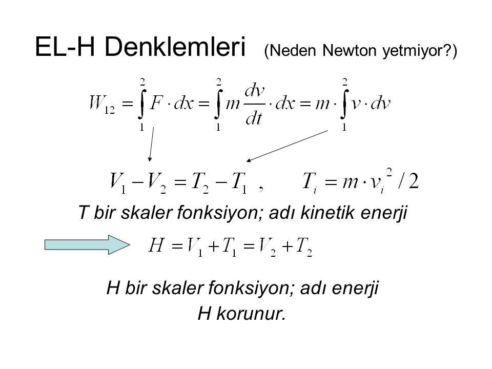 EL-H Denklemleri (Neden Newton yetmiyor?) N parçacık için Newton'un ikinci yasası: Kuvvetler korunumlu ise,, H korunur.