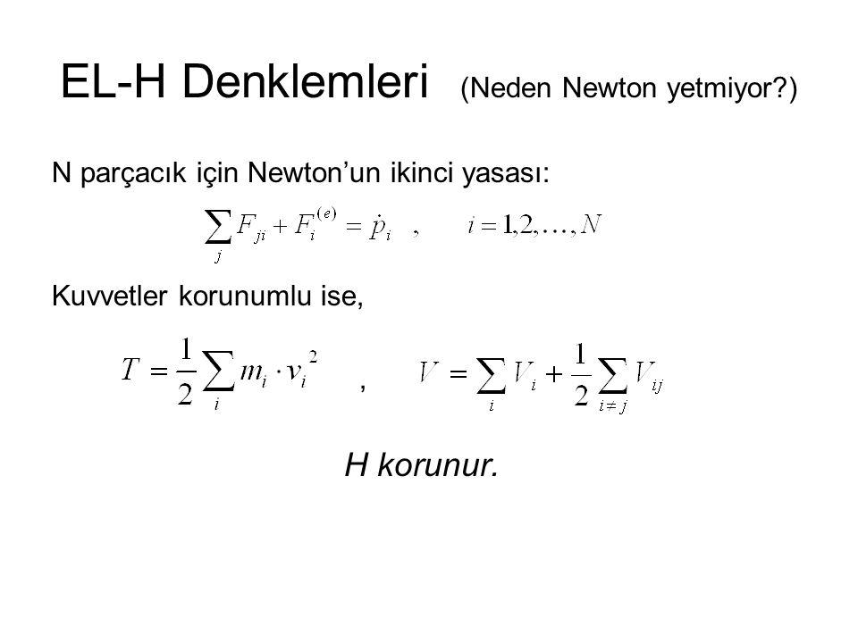 EL-H Denklemleri (Neden Newton yetmiyor?) Çünkü sistemde etkisini bilip de kendisini bilemediğimiz kuvvetler olabilir.