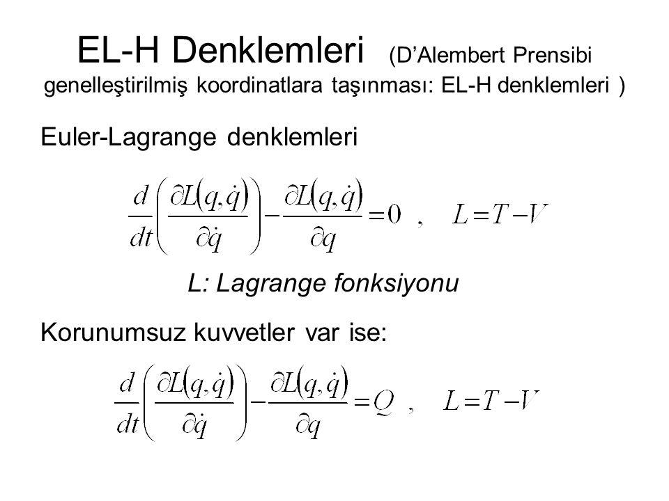 EL-H Denklemleri (D'Alembert Prensibi genelleştirilmiş koordinatlara taşınması: EL-H denklemleri ) Euler-Lagrange denklemleri L: Lagrange fonksiyonu K