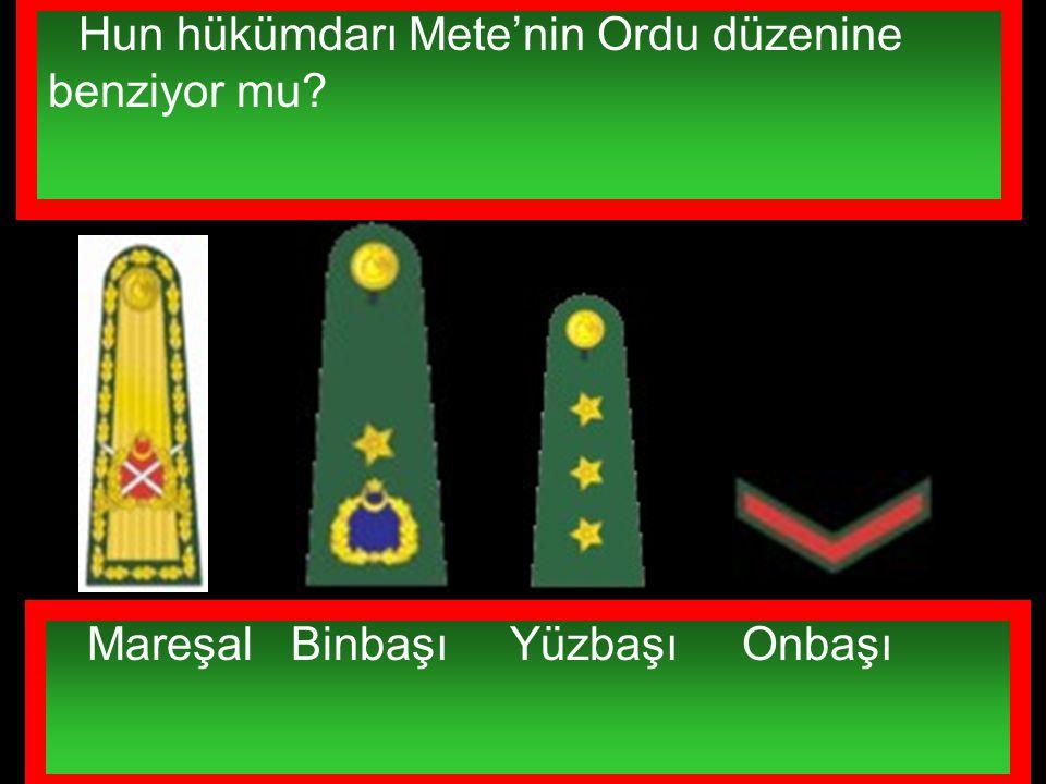Türk Silahlı Kuvvetlerinde ki aşağıdaki rütbelerin anlamını biliyor musunuz? Mareşal Binbaşı Yüzbaşı Onbaşı Hun hükümdarı Mete'nin Ordu düzenine benzi
