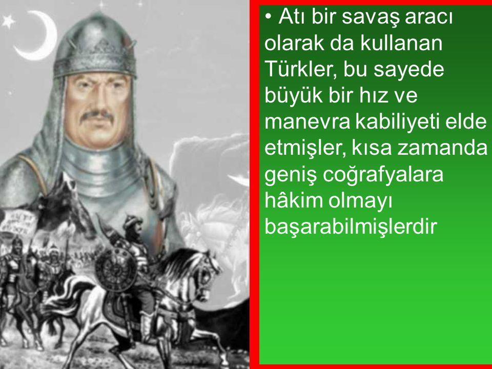 Atı bir savaş aracı olarak da kullanan Türkler, bu sayede büyük bir hız ve manevra kabiliyeti elde etmişler, kısa zamanda geniş coğrafyalara hâkim olm