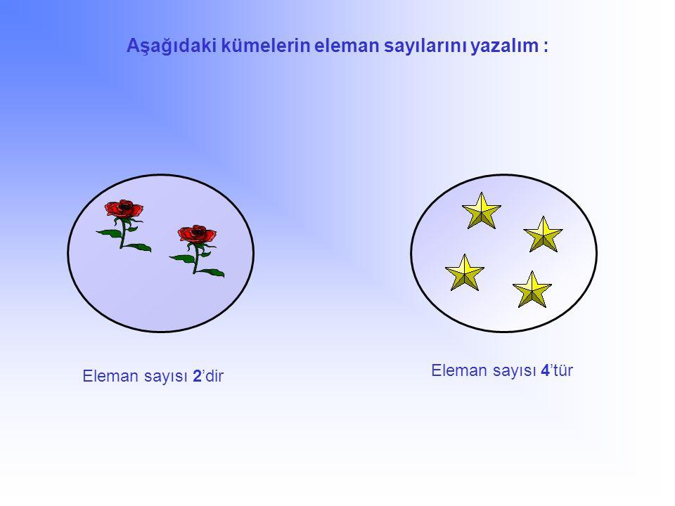 Aşağıdaki kümelerin eleman sayılarını yazalım : Eleman sayısı 2'dir 4'tür