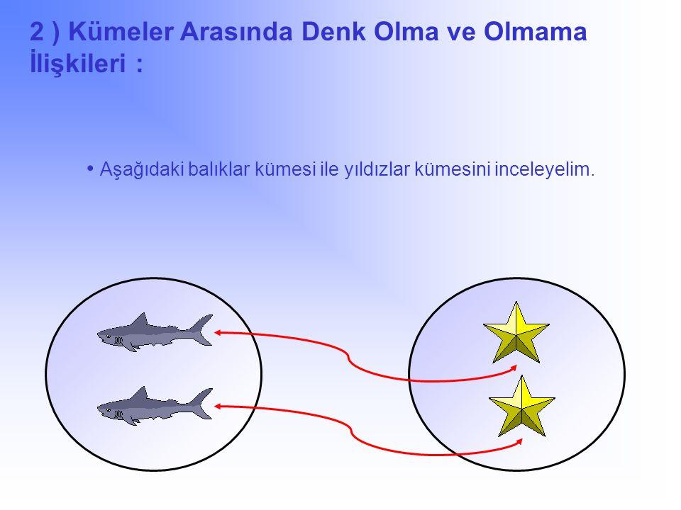 2 ) Kümeler Arasında Denk Olma ve Olmama İlişkileri : Aşağıdaki balıklar kümesi ile yıldızlar kümesini inceleyelim.