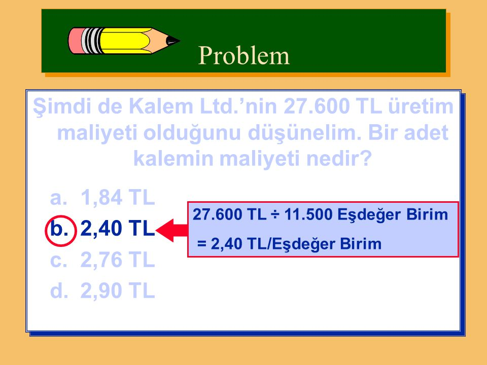 Şimdi de Kalem Ltd.'nin 27.600 TL üretim maliyeti olduğunu düşünelim. Bir adet kalemin maliyeti nedir? a.1,84 TL b.2,40 TL c.2,76 TL d.2,90 TL Şimdi d