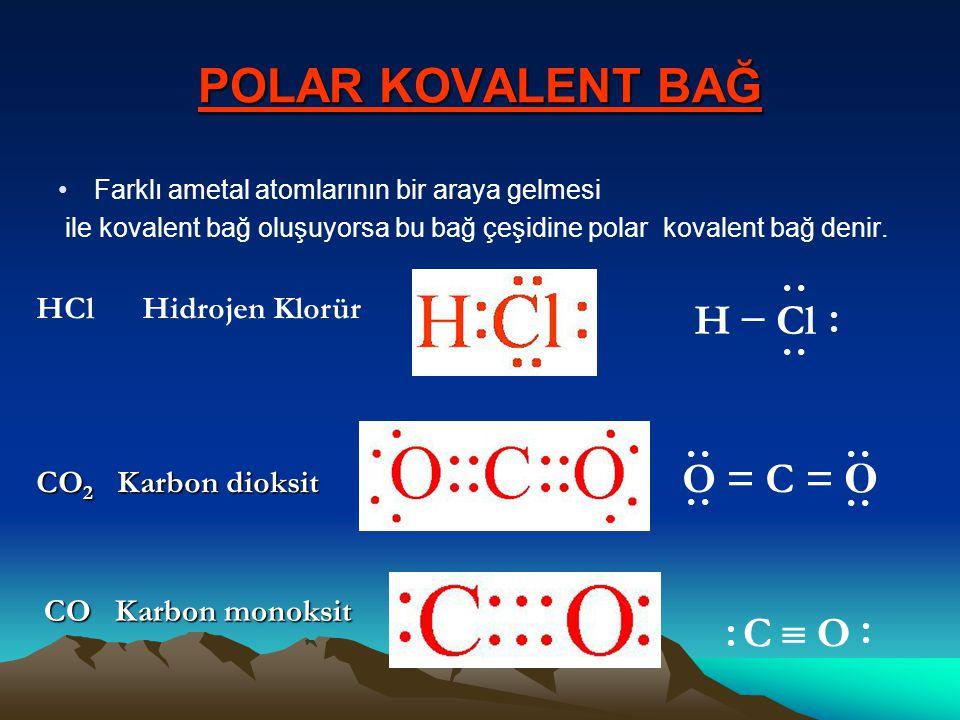 POLAR KOVALENT BAĞ Farklı ametal atomlarının bir araya gelmesi ile kovalent bağ oluşuyorsa bu bağ çeşidine polar kovalent bağ denir. HCl Hidrojen Klor