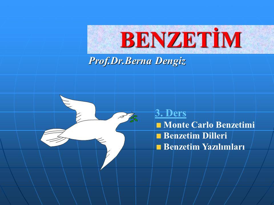 BENZETİM Prof.Dr.Berna Dengiz 3. Ders Monte Carlo Benzetimi Benzetim Dilleri Benzetim Yazılımları