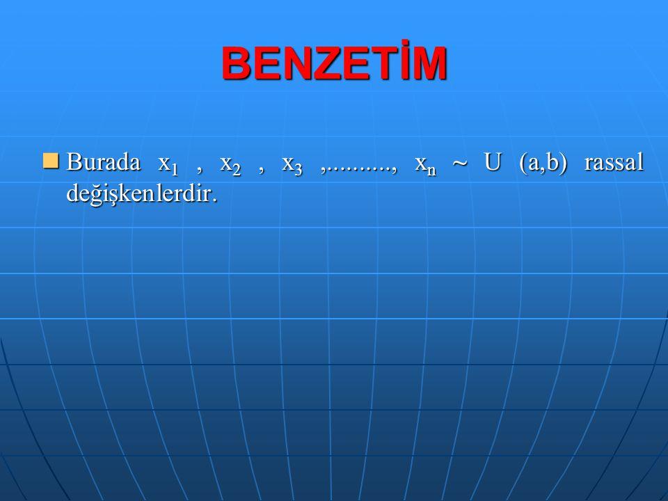 Burada x 1, x 2, x 3,.........., x n ~ U (a,b) rassal değişkenlerdir.