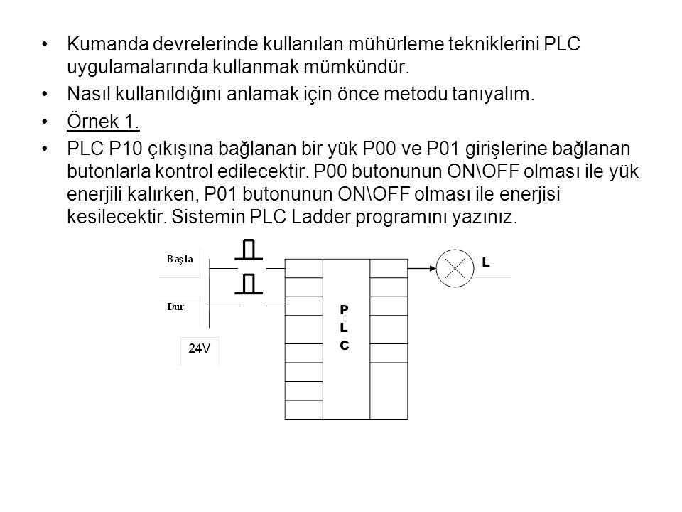 Kumanda devrelerinde kullanılan mühürleme tekniklerini PLC uygulamalarında kullanmak mümkündür. Nasıl kullanıldığını anlamak için önce metodu tanıyalı