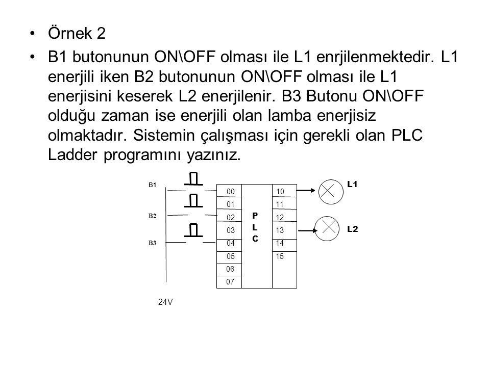 Örnek 2 B1 butonunun ON\OFF olması ile L1 enrjilenmektedir. L1 enerjili iken B2 butonunun ON\OFF olması ile L1 enerjisini keserek L2 enerjilenir. B3 B