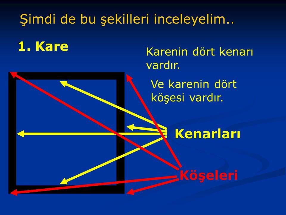 Şimdi de bu şekilleri inceleyelim..1. Kare Karenin dört kenarı vardır.